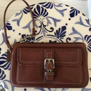 Coach Brown Leather SOHO Pocket Front Wristlet